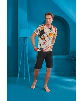 DOREANSE HOMEWEAR men t-shirt & shorts set 04990